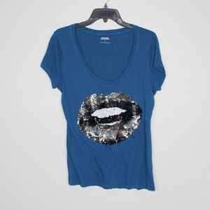 Express Sequin Mouth Graphic Tee-Kylee Jenner Look